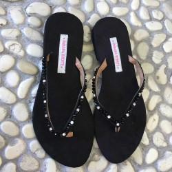 Sandalo Infradito Cristalli e Perline Nere