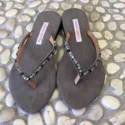 Sandalo Infradito Hematite e Perline di Vetro