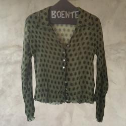 Camicia crepe chiffon pois verde nero