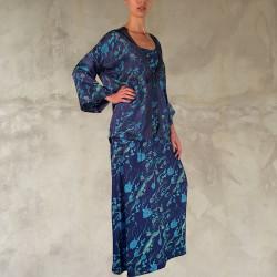Completo kimono e abito lungo blu notte