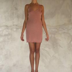 Mini abito rosa in tricot di lamè