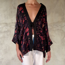 kimono coprispalle in satin di seta